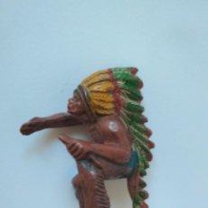 Figuras de Goma y PVC: RARO JINETE INDIO PECH HNOS GOMA. Lote 141327098