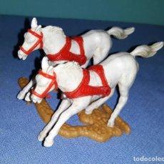 Figuras de Goma y PVC: ANTIGUOS CABALLOS CUADRIGA ROMANA DE PLASTICO REAMSA ESTEROPLAST JECSAN Nº 77. Lote 141684630