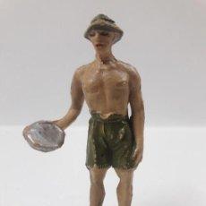 Figuras de Goma y PVC: PRISIONERO INGLES . PUENTE SOBRE EL RIO KWAI . REALIZADO POR JECSAN . AÑOS 50 EN GOMA. Lote 142702898
