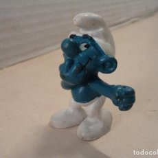 Figuras de Goma y PVC: SCHTROUMPF/SMURFETTE/PITUFO RIENDO - SCHLEICH - GERMANY - AÑO 1979. Lote 143176186