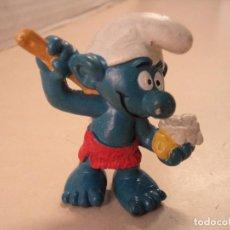 Figuras de Goma y PVC: SCHTROUMPF/SMURF/PITUFO LIMPIÁNDOSE - BULLY - GERMANY. Lote 143176966