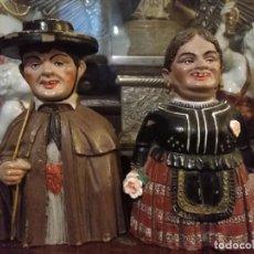 Figuras de Goma y PVC: PAREJA FIGURAS GIGANTES Y CABEZUDOS EN PLÁSTICO PINTADOS A MANO - MODELO MUY RARO - HUECOS. Lote 213814332