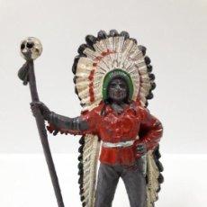 Figuras de Goma y PVC: JEFE INDIO . REALIZADO COMANSI . PRIMERA EPOCA. Lote 144036042