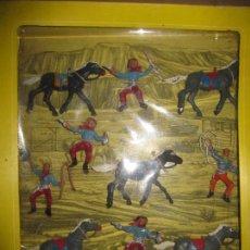Figuras de Goma y PVC: CAJA DE VAQUEROS DE OLIVER/ PECH DESCATALOGADA. Lote 144104094