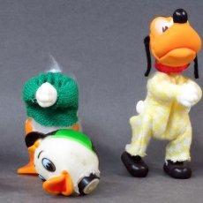 Figuras de Goma y PVC: PLUTO Y TRES SOBRINOS PATO DONALD JAIMITO JORGITO JUANITO TELA Y GOMA AÑOS 80. Lote 144244086
