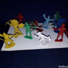 Figuras de Goma y PVC: LOTE 10 FIGURAS MUÑECOS INDIOS VAQUEROS AÑOS 70 PECH. Lote 144440250