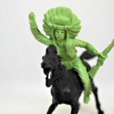 Figuras de Goma y PVC: ANTIGUA FIGURA DEL OESTE EN PLÁSTICO REIGON. SERIE INDIOS Y VAQUEROS. MADE IN SPAIN. Lote 144466374