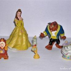 Figuras de Goma y PVC: LOTE 5 FIGURITAS BELLA Y BESTIA, SRA. POTTS, LUMIERE Y DIN DON. Lote 144513050