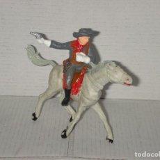 Figuras de Goma y PVC: FIGURA SOLDADO SUDISTA-CONFEDERADO Y CABALLO DE PECH, PVC, AÑOS 70. Lote 144572010