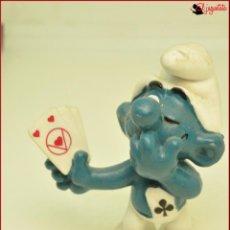 Figuras de Goma y PVC: PIT 2 - PITUFOS SMURFS PEYO - SCHLEICH 1978 W BERRIE CO - PITUFO NAIPES JUGADOR CARTAS MAGO . Lote 145259870