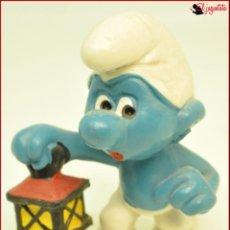Figuras de Goma y PVC: PIT 4 - PITUFOS SMURFS PEYO - SCHLEICH WEST GERMANY - PITUFO LAMPARA LINTERNA. Lote 145260454