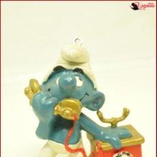 Figuras de Goma y PVC: PIT 32 - PITUFOS SMURFS PEYO - SCHLEICH W BERRIE 1980 HONG KONG - PITUFO TELEFONO. Lote 145270686