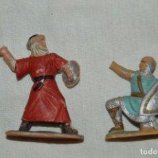 Figuras de Goma y PVC: LOTE SOLDADO MEDIEVAL CRISTIANO 167, SERIE REY ARTURO Y GUERRERO MORO 297, SERIE EL CID - REAMSA. Lote 147061330