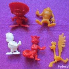 Figuras de Goma y PVC: LOTE 5 FIGURAS WARNER BROS, W.B, 1967, TAZMANIA, SPEEDY GONZALEZ, CORRECAMINOS, MIDEN APROX. 3 CM. Lote 147187974