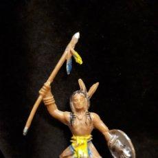 Figuras de Goma y PVC: INDIO FUERTE COMANSI AZUL. Lote 147280050