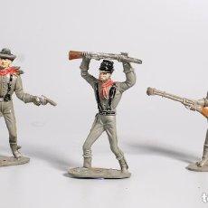 Figuras de Goma y PVC: 3 SOLDADOS CONFEDERADOS DE COMANSI. AÑOS 60/70. Lote 147545994