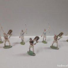 Figuras de Goma y PVC: SIETE GUERREROS CARTAGINESES . REALIZADO POR ROJAS Y MALARET . BATALLA DEL METAURO . AÑOS 60. Lote 147559078