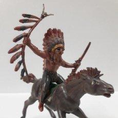 Figuras de Goma y PVC: JEFE INDIO A CABALLO . REALIZADO POR PECH . AÑOS 50 EN GOMA. Lote 147669582