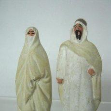 Figuras de Goma y PVC: JEQUE Y JEQUESA - PEQUEÑAS Y RARAS FIGURAS EN YESO O SIMILAR - 8 CM - NO GOMA NO PVC. Lote 148096222