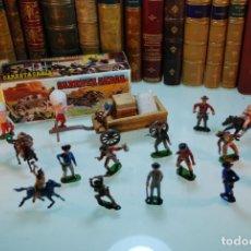Figuras de Goma y PVC: LOTAZO DE COMANSI -REAMSA - 11 VAQUEROS, 5 INDIOS, 5 CABALLOS. CARRETA DE CARGA EN CAJA ORIGINAL -. Lote 148153158