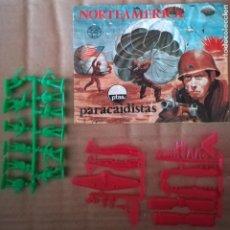 Figuras de Goma y PVC: MONTAPLEX 110 NORTEAMÉRICA PARACAIDISTAS - SOBRE ABIERTO CON MATRICES SIN DESTROQUELAR. Lote 149242818
