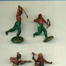 Figuras de Goma y PVC: 4 INDIOS GAMA. Lote 150037126