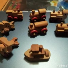 Figuras Kinder: 8 FIGURAS KINDER DE MADERA. TREN, AVION, BARCO.. Lote 150240190