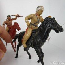Figuras de Goma y PVC: MUY MUY RARAS FIGURAS MARX PLASTICO ANTIGUAS DAVY CROCKETT E INDIO AÑOS 50/60. Lote 150506202