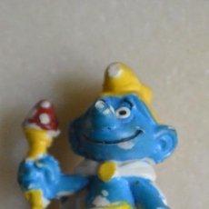 Figuras de Goma y PVC: FIGURA GOMA PVC PITUFO REY CON SETA. Lote 150615482