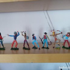 Figuras de Goma y PVC: LOTE DE 7 FIGURAS PVC VAQUEROS E INDIOS TAMAÑO GRANDE LAFREDO FART WEST. Lote 150950150