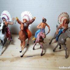 Figuras de Goma y PVC: SOLDADOS DE PLASTICO JINETE INDIOS JECSAN COMO NUEVOS . Lote 151049198