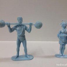 Figuras de Goma y PVC: FORZUDO Y LA AYUDANTE DEL MAGO - SERIE CIRCO . REALIZADOS POR JECSAN . AÑOS 60 / 70 EN PLASTICO. Lote 151293582