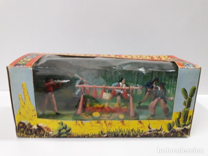 Figuras de Goma y PVC: CAJA ORIGINAL RUMBO AL OESTE . REALIZADA POR REAMSA . AÑOS 60 - Foto 3 - 151408918