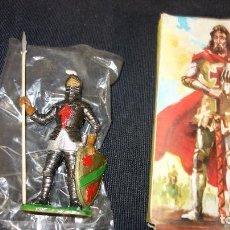 Figuras de Goma y PVC: COMANSI,ANTIGUA FIGURA DE MEDIEVAL CON LANZA Y ESCUDO,SERIE JUGUETES HISTORICOS. Lote 151415366