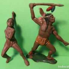 Figuras de Goma y PVC: TEIXIDO 2 INDIOS DE GOMA. Lote 151427570