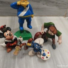 Figuras de Goma y PVC: LOTE 5 FIGURAS PVC - BULLY - MADE IN GERMANY - MICKEY MOUSE - PITUFOS - SIMPSONS ETC.... Lote 151638918