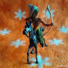 Figuras de Goma y PVC: 2 FIGURAS COMANSI: JINETE INDIO CON ARCO MAS CABALLO NUEVAS. Lote 152052302