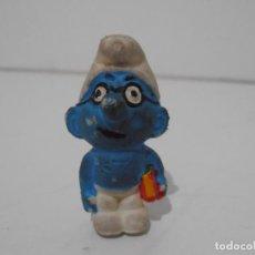 Figuras de Goma y PVC: FIGURA SERIE PITUFOS, PITUFO ESTUDIANTE CON GAFAS Y LIBROS. Lote 152151842