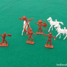 Figuras de Goma y PVC: LOTE DE 8 FIGURAS DE PLÁSTICO MINI OESTE DE COMANSI 4 INDIOS A PIE, 1 A CABALLO Y 3 CABALLOS.. Lote 152372926