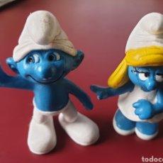 Figuras de Goma y PVC: BONITO LOTE 2 FIGURAS PVC GOMA LOS PITUFOS. Lote 152469261