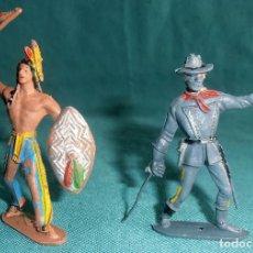 Figuras de Goma y PVC: UN INDIO Y UN MILITAR COMANSI. Lote 152529026