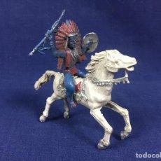 Figuras de Goma y PVC: FIGURA DE GOMA INDIO A CABALLO AZUL BLANCO REAMSA PECH JECSAN. Lote 153341630