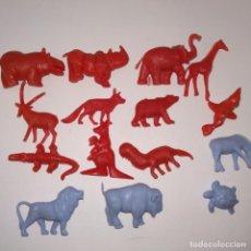 Figuras de Goma y PVC: LOTE DE 15 FIGURAS DE SERIE DE 30 FIERAS DEL ZOO DUNKIN 1967 ANIMALES LEÓN CANGURO JIRAFA ELEFANTE .. Lote 153830186