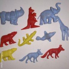 Figuras de Goma y PVC: LOTE DE 10 FIGURAS DE SERIE DE FIERAS DEL ZOO DUNKIN 1967 ANIMALES. Lote 153830254