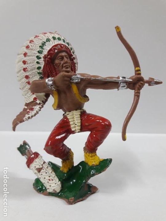 GUERRERO INDIO . REALIZADO POR LAFREDO . AÑOS 60 . SERIE GRANDE (Juguetes - Figuras de Goma y Pvc - Lafredo)