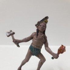 Figuras de Goma y PVC: GUERRERO INDIO . REALIZADO POR TEIXIDO . AÑOS 50 EN GOMA. Lote 155330750