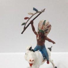 Figuras de Goma y PVC: JEFE INDIO A CABALLO . REALIZADO POR TEIXIDO . AÑOS 50 EN GOMA. Lote 155331074
