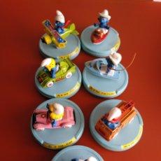 Figuras de Goma y PVC: 7 PITUFOS EN VEHICULO, AÑOS 70/80 DE GUISVAL, SMURF. Lote 155385570