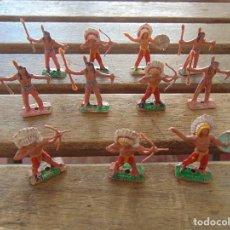 Figuras de Goma y PVC: LOTE DE 11 INDIOS A PIE DEL MINI OESTE DE COMANSI . Lote 155663122