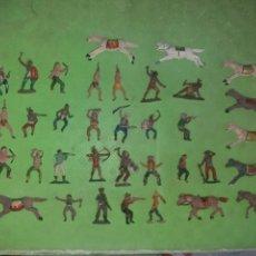 Figuras de Goma y PVC: LOTAZO DE 35 FIGURAS DE GOMA TEIXIDO,PECH,REAMSA ETC INDIOS Y VAQUEROS PIEZAS MUY DIFÍCILES. Lote 156114989